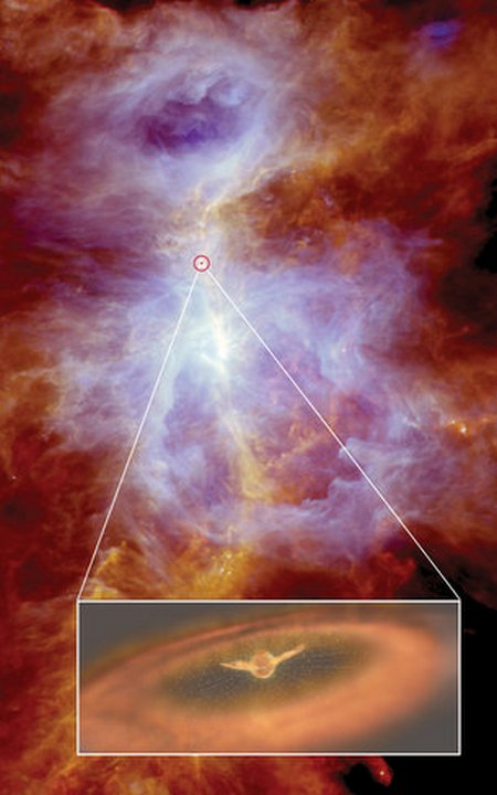 Violent wind gusting around protostar in Orion medium